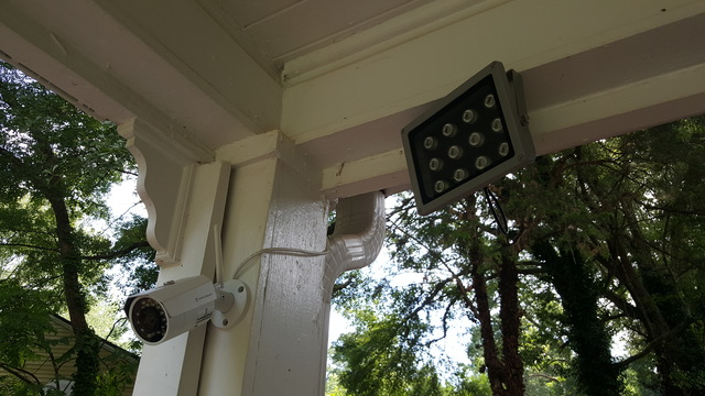 camera and IR illuminator as installed, during the day