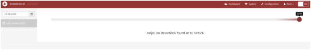 "screenshot of Kerberos.io dashboard for current date, saying ""Oeps, no detections found at 11 o'clock"""