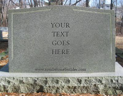 Image of tombstone, with 'Your Text Goes Here' carved into it