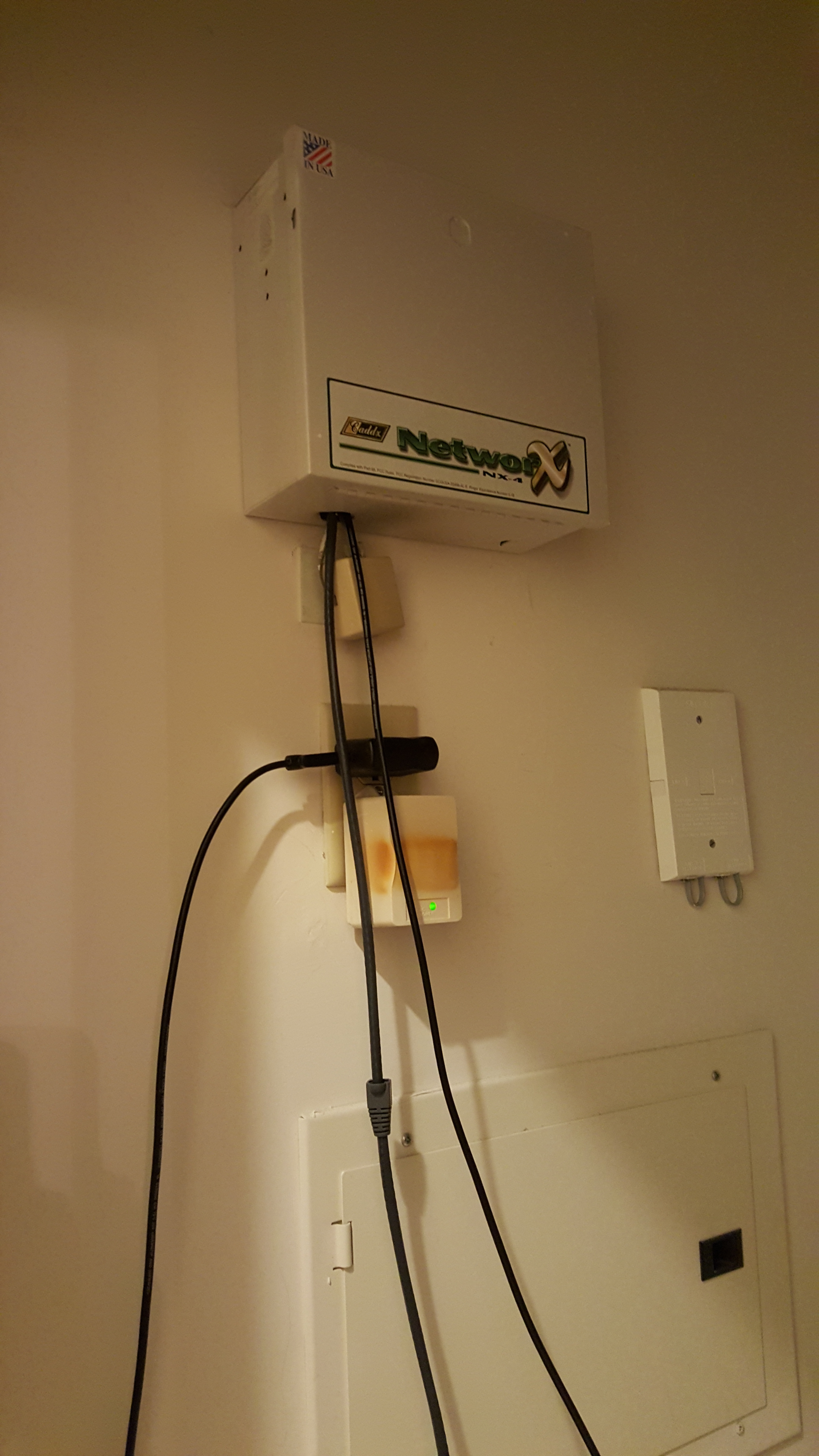 Raspberry pi security system jason antmans blog photograph of alarm enclosure closed showing wires to rpi rubansaba