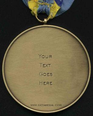 Gold medal with 'Your Text Goes Here' written on it