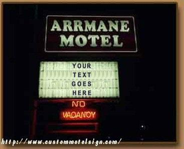 Motel-style sign with 'Your Text Goes Here' written on it